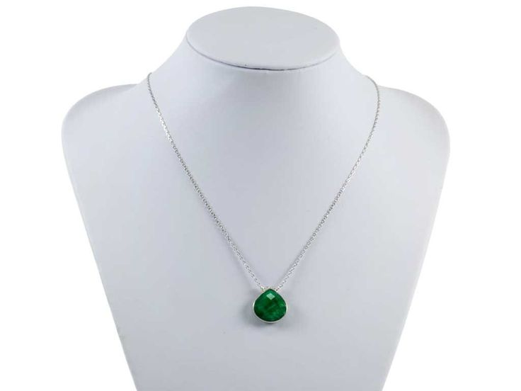 Faceted Emerald Gemstone Pendant|Sterling Silver 925 Necklace|Good Luck Charm Pendant by TheBeadedGardencom on Etsy