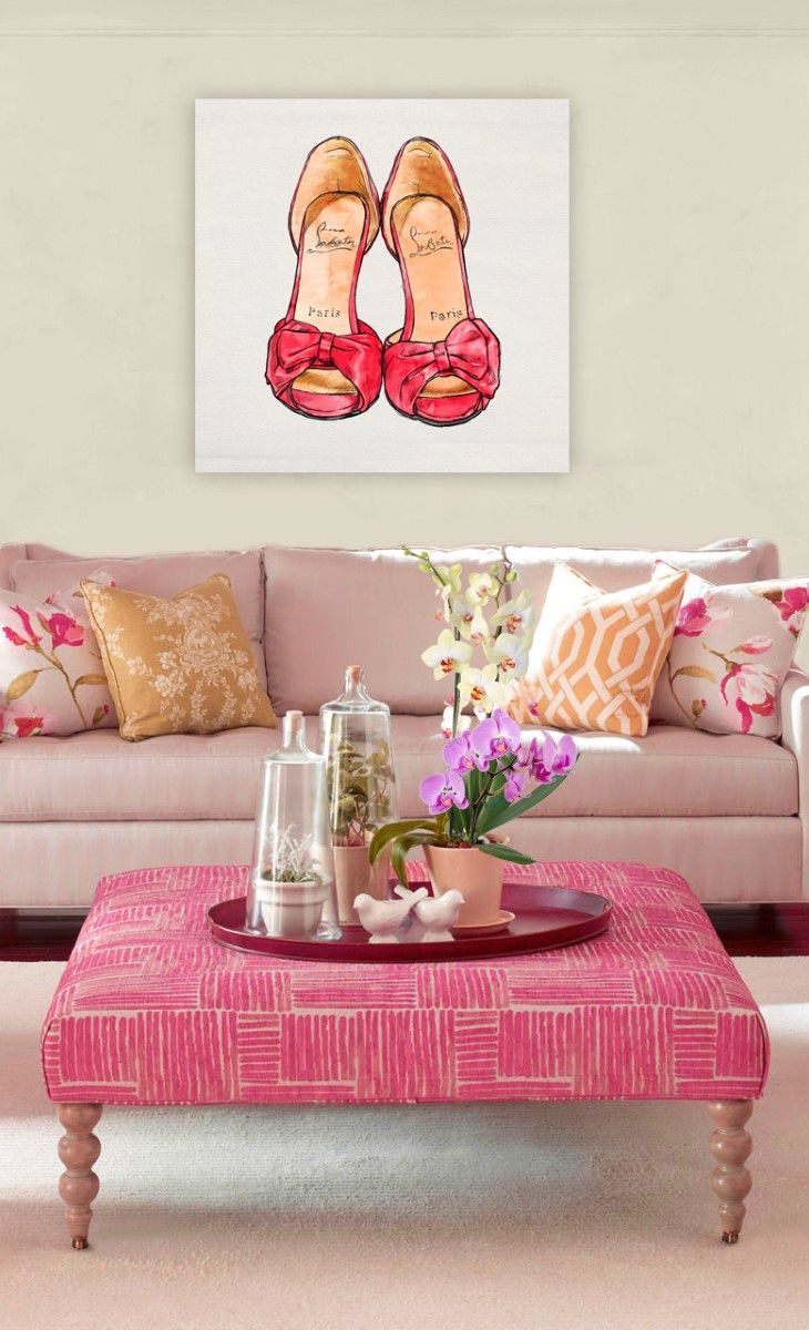 cute and feminine living room