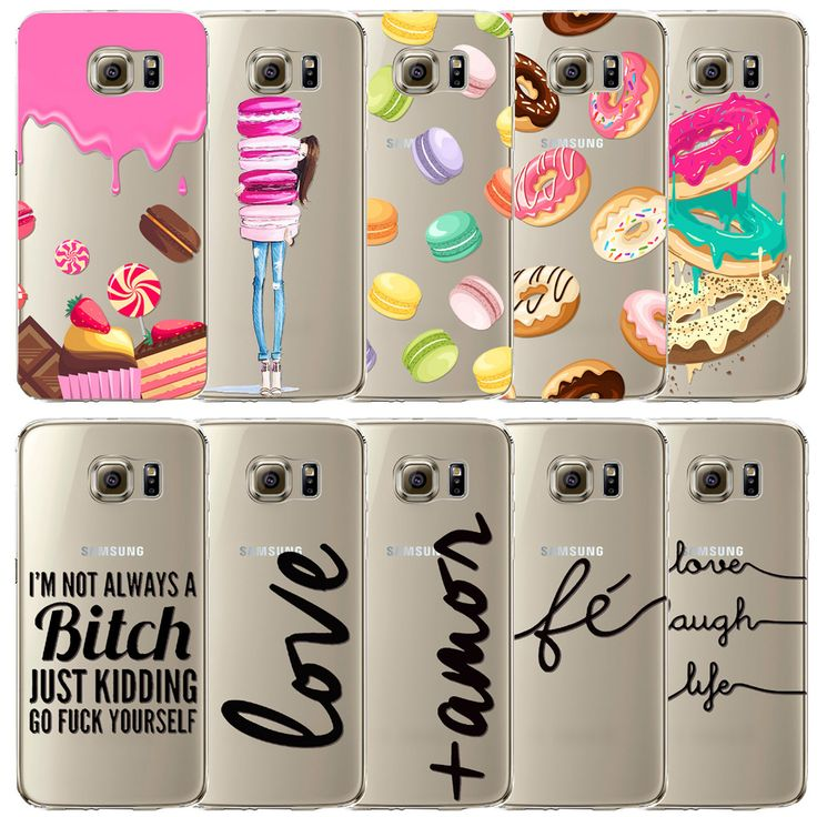 Cover for Samsung Galaxy S6 Case Macaron ice cream Back Skin Portuguese Words Love Amor Pattern Soft TPU Phone Cases Cover Capa
