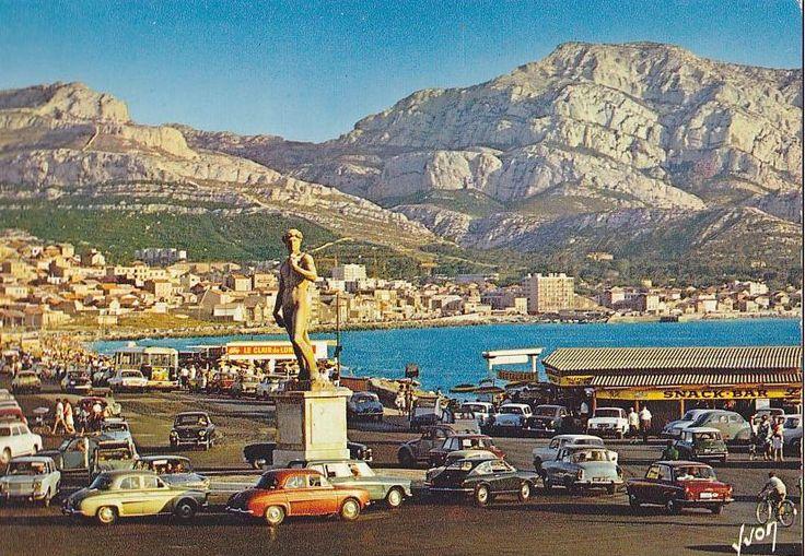 Les plages de Marseille et la statue de David dans les années 1960 en Provence