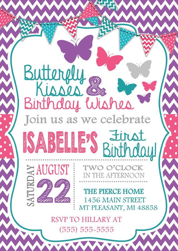 Purple Pink & Teal Butterfly Birthday Invitation by ThreeJDesigns