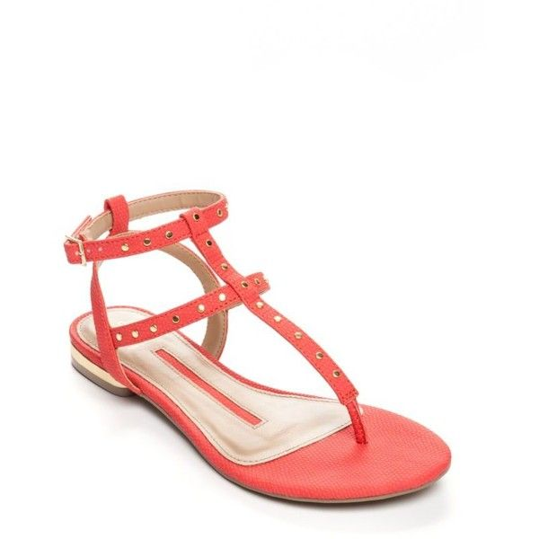 New Directions Coral Katelin Studded Gladiator Sandal - Women's ($30) ❤ liked on Polyvore featuring shoes, sandals, coral, greek sandals, summer footwear, coral sandals, coral shoes and summer shoes