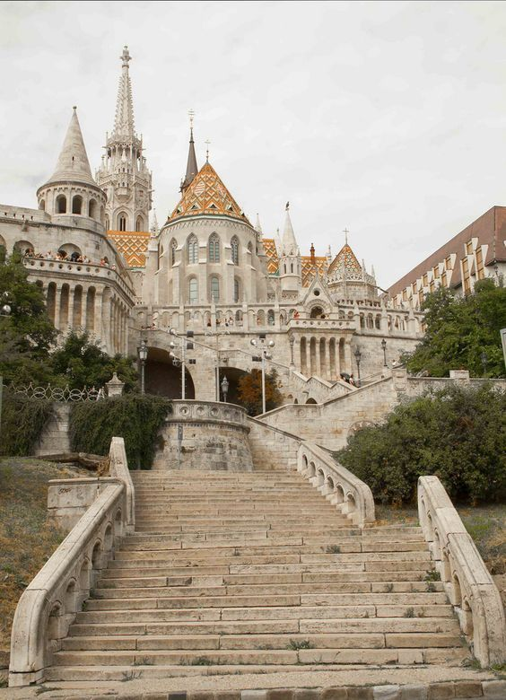 Up close with the Fisherman's Bastion in Budapest, Hungary.