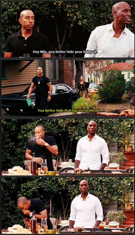 The Rock improvised this line. Luda's reaction is real.