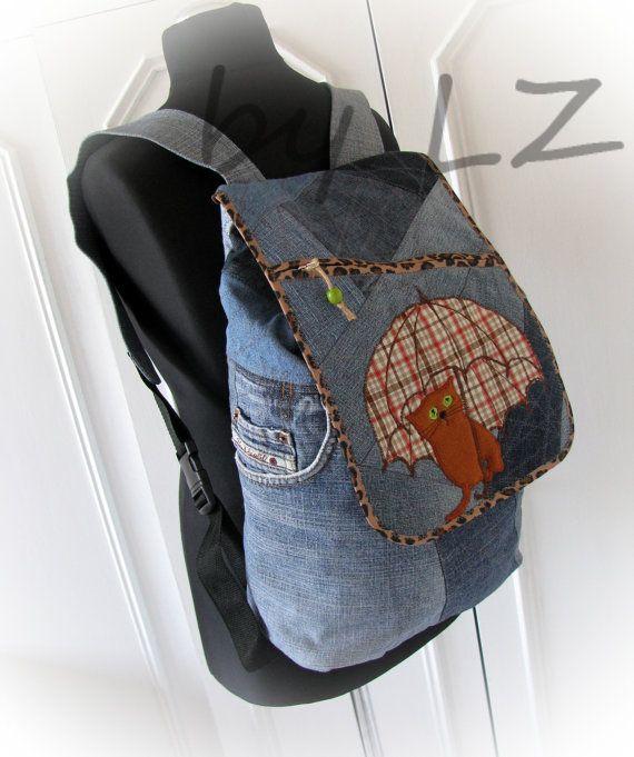 jean backpack with an applique denim backpack cat от klaptykart