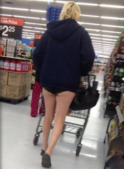 Winter Coat and Underwear at Walmart - No Way Girl No Pants - Sexy Legs Fail - Funny Pictures at Walmart