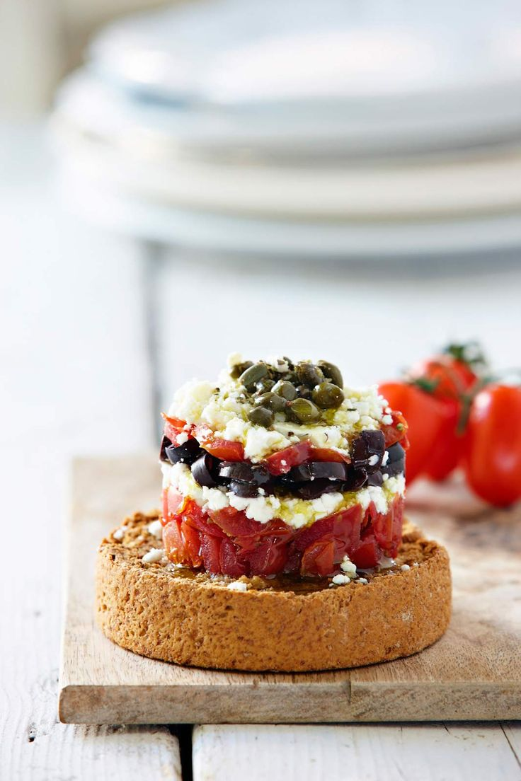 Dakos with Olives, Capers, Feta Cheese,Tomato & Greek Olive Oil