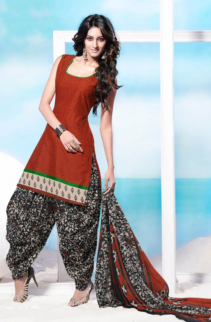 Brown Printed Cotton Salwar Kameez