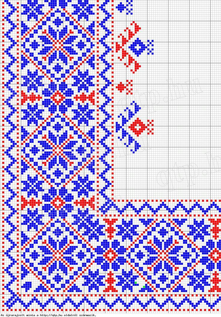 Rózsás sarok leszámolható minta - székely varottas - magyar hímzés