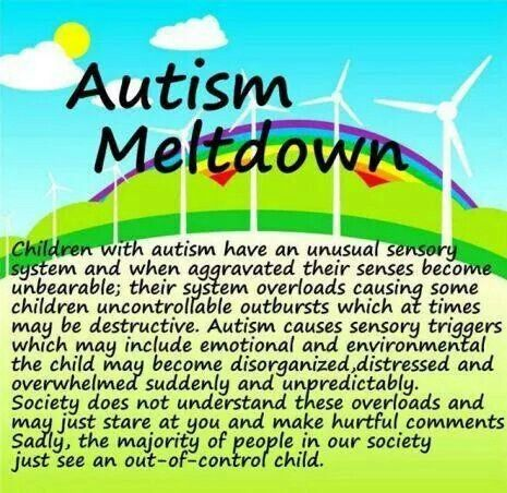 Meltdowns...not tantrums.  Educate yourselves.  Stop the hurtful stares and comments.