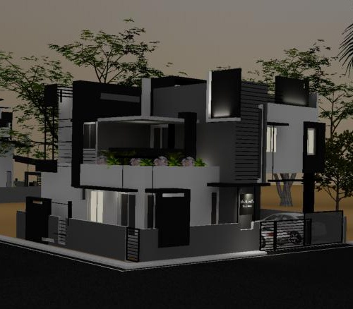 Front Elevation Designs Bangalore : Evening view of front elevation for murali s independent