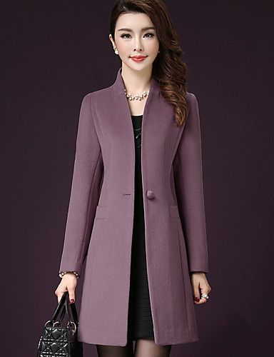 Women's Plus Size / Formal / Party/Cocktail Simple / Street chic CoatSolid Stand Long Sleeve Fall / Winter Polyester 5242055 2016 – $68.63