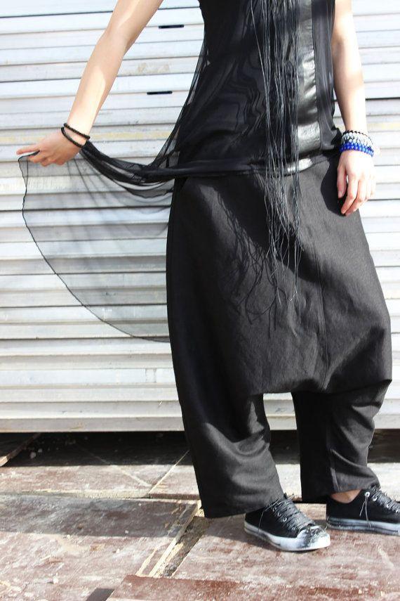 FREE SHIPPING Black Linen Pants / Loose Drop Crotch by Fraktura