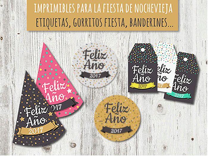 Kit de fiesta: imprimibles para celebrar la fiesta de Año Nuevo 2017.Imprimible gratis con gorritos, banderines y etiquetas...