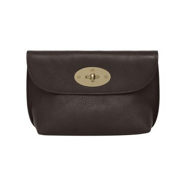 Mulberry - Locked Cosmetic Purse in Chocolate Natural Leather With Brass