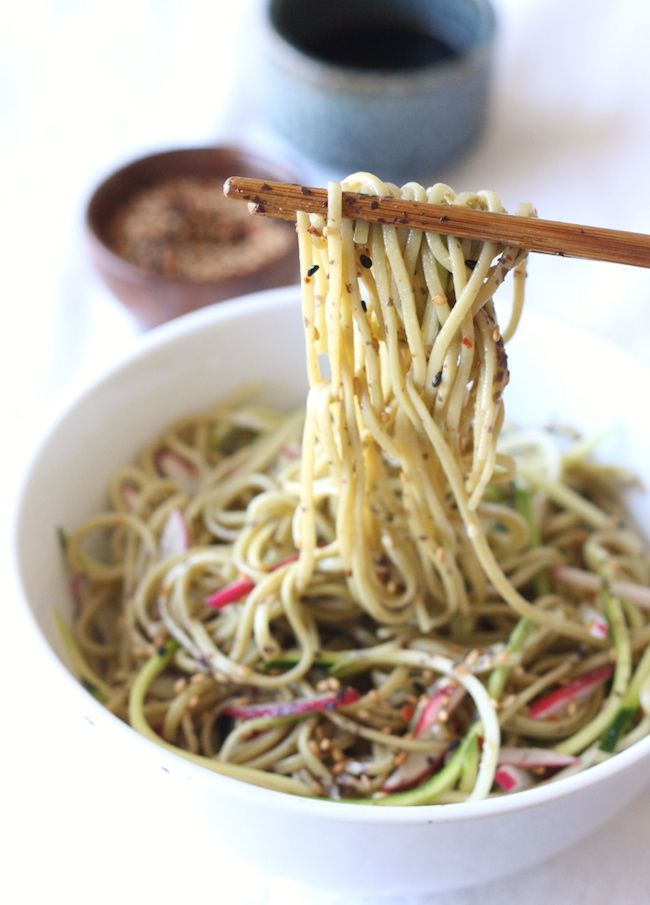 Green Tea Soba Noodle Salad recipe by SeasonWithSpice.com @seasonwithspice