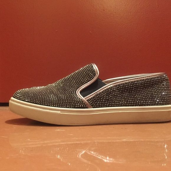 "Steve Madden rhinestone slip on sneakers Predominantly brown slip on Steve Madden sneakers are perfect for all seasons and types of weather. Able to be dressed up or down and perfect for just ""slipping on"" when in a rush. Only worn a handful of times!! Steve Madden Shoes Sneakers"