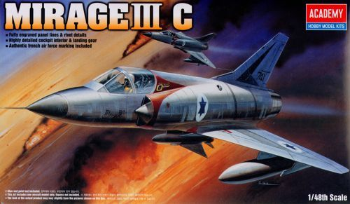 Dassault Mirage IIIC, with Israeli Decals only. Academy, 1/48, injection, No.12247. Price: 7,25 GBP.