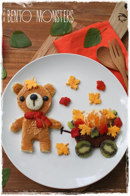 Autumn Bear pulling a wagon