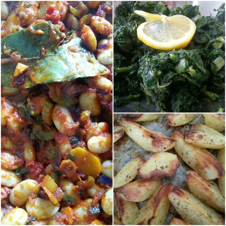 Drie heerlijke recepten voor een weekend lang smakelijk eten. Reuzebonen, citroenaardappelen en bladgroente. Alles Grieks!
