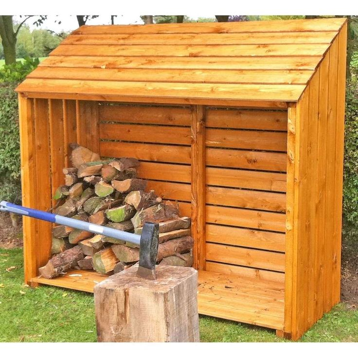 Outdoor Large Log Storage Shed Open Natural Colour Timber ...