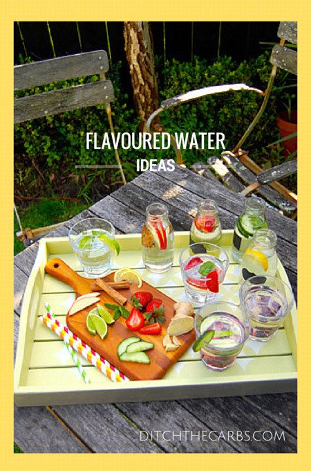 Easy flavoured water ideas that turn plain water into something special, colourful and healthy. Sugar free and beautiful for a summer party. Flavoured water ideas that children can make or you can take in your gym bottle. | http://www.ditchthecarbs.com/2014/10/24/flavoured-water-ideas/ #sugarfree #lowcarb #gethealthy #loseweight #realfood #lchf #banting