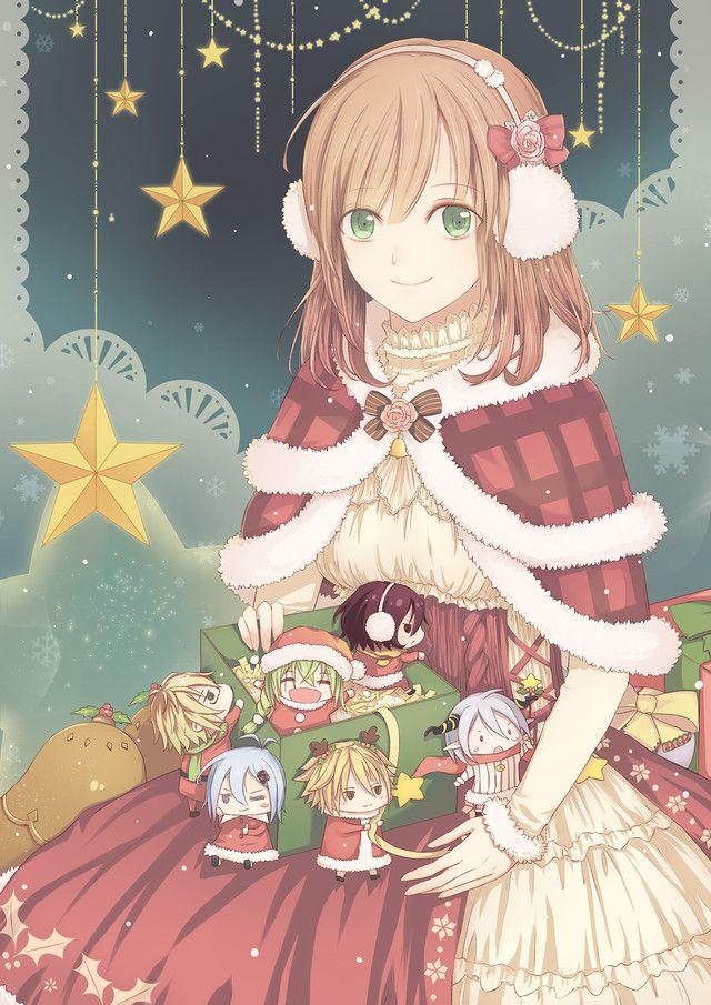 ❄• ~ MERRY CHRISTMAS & HAPPY HOLIDAYS! ~ •❄ anime art. . .christmas themed clothing. . .cape. . .ribbons. . .earmuffs. . .present. . .chibis. . .smile. . .snowflakes. . .stars. . .cute. . .kawaii