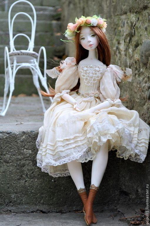 Купить Коллекционная кукла Ева - бежевый, авторская ручная работа, кукла ручной работы