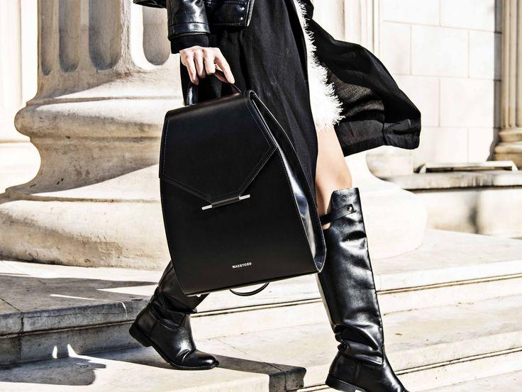 Maestoso black leather backpack.