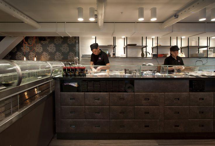 Restaurant ZAN Kista Galleria. Restaurant Interior. Running Sushi.