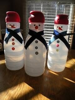 If you're a coffee creamer kinda person, start saving those bottles now for this easy DIY in the coming winter months! All you need for these are empty creamer bottles, a few buttons, some ribbon or felt, and voila! Instant snowman!