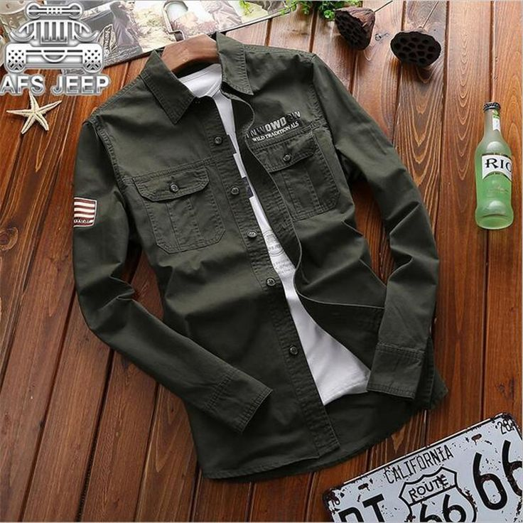 AFS JEEP 2017 New Design Man's Military Shirt,China size Long Sleeve Mutil Pockets Cargo Shirt,Solid Resist Cargo Military Shirt