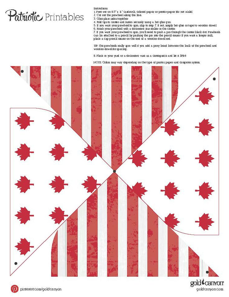 Celebrate Canada Day with a whirl of red & white! These printable pinwheels will show off your pride and your style.