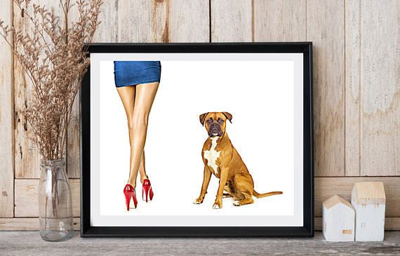 Dog print Boxer print Woman with dog Jean skirt High red heels