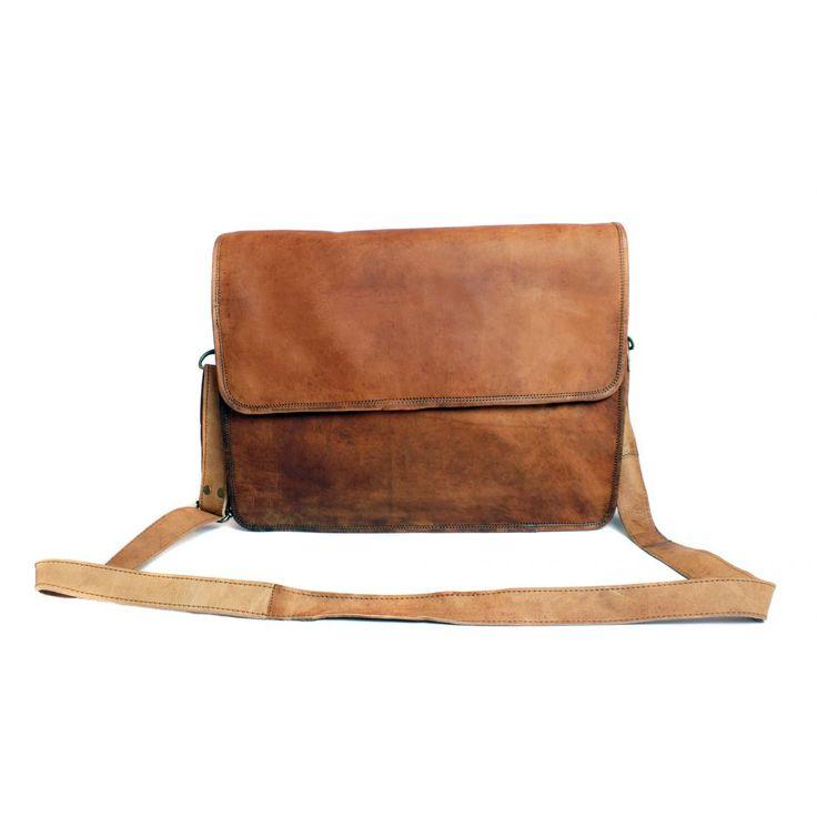 Natural Leather Handmade Fairtrade Maple Laptop Bag