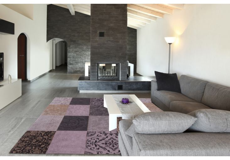 Dywany Patchwork :: Dywan naturalny vintage patchwork 8373 Vesuvio - fioletowo beżowy - Carpets&More - wysokiej klasy dywany i akcesoria tekstylne
