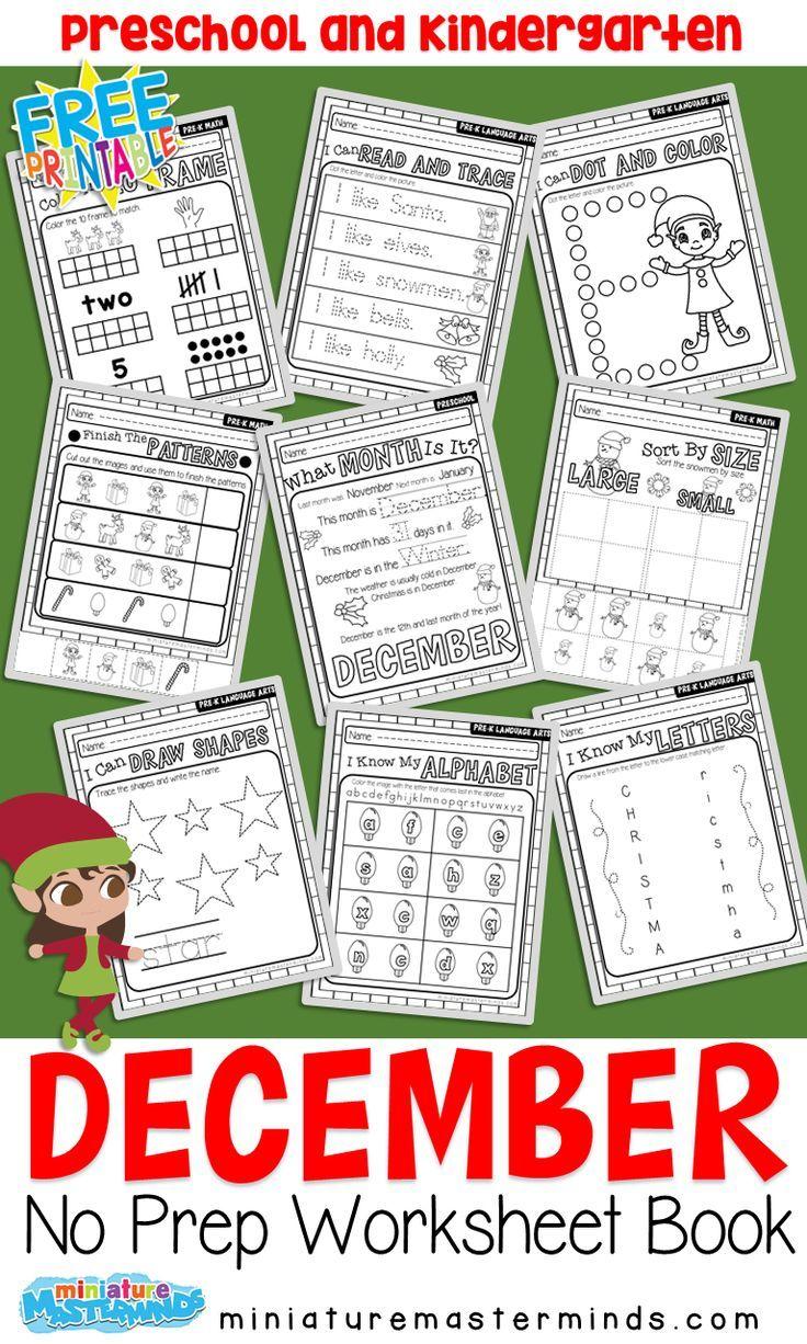 December No Prep Preschool Pack Christmas Themed Worksheets And Activities Preschool Christmas Worksheets Christmas Lesson [ 1226 x 736 Pixel ]