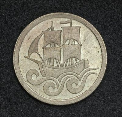 Danzig coins Gdańsk - Free City of Danzig Half Gulden Silver Coin, mint year 1923.  Obverse: Stylized sail ship at sea. The stylized vessel symbolizes the merchant ships of the Hanseatic League also known as the Hansa.