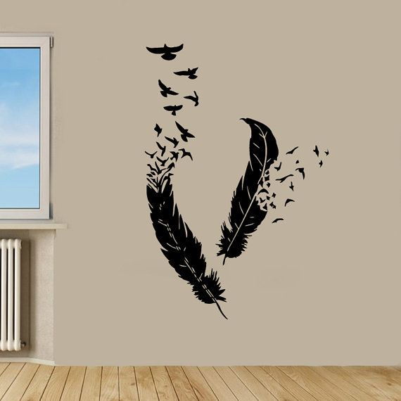 Wall Decor Bird Design : Birds wall decals flying from feathers living room