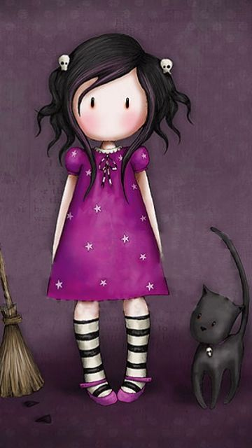 Girl with Purple Dress