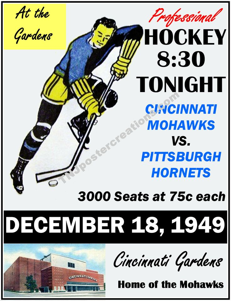 Cincinnati Mohawks hockey poster, 1949