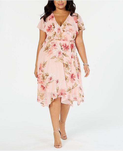 Jessica Howard Plus Size Floral Capelet Dress in 2019 | Outfits ...