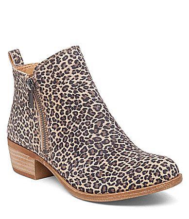 Lucky Brand Basel Leopard Print Suede Zip Booties #Dillards