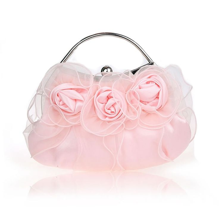 New 3D Flower Silk Elegant Evening Bag Lady Three-dimensional Flower Satin Bridal Wedding Purse PartyMessenger Clutch XA114L