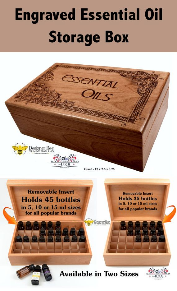 Essential Oil Storage Box - Beautiful High Detail Engraving in Celtic & Baroque Design - Made in USA from Premium American Alder - 2 Sizes