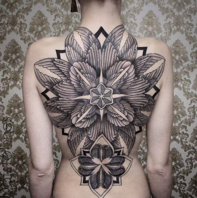 Symmetrical Full Back Tattoo by Chaim Machlev