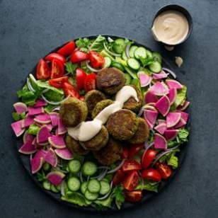 and healthy gluten-free Falafel Salad with Lemon-Tahini Dressing ...