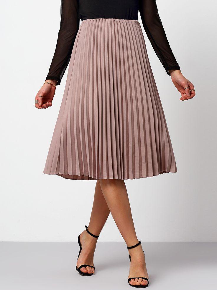 Falda cintura alta plisada-(Sheinside)