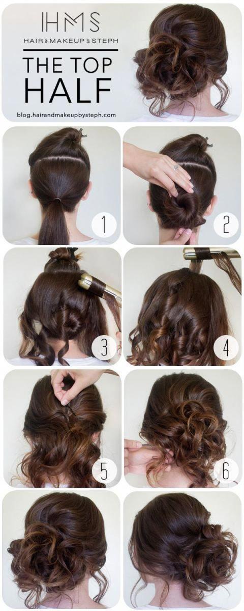 Wenn Ihr Haar kinnlang oder lang ist, ku00e4mmen Sie es gerade nach oben, drehe…