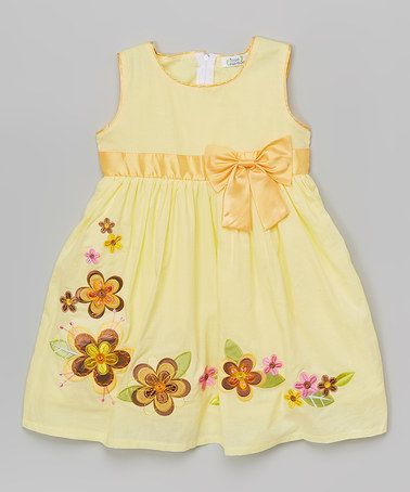 Another great find on #zulily! Yellow Floral Bow Dress - Toddler & Girls #zulilyfinds